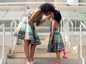 Mommy & Me 1 - Ethnic Printed Sundresses - head to head close up