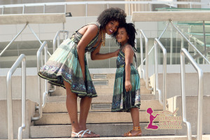 Mommy & Me 1 - Ethnic Printed Sundresses - on stairs